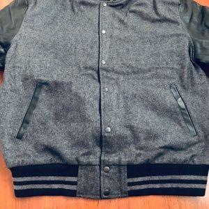 Varsity Baseball Gray Wool & Genuine Leather Jack